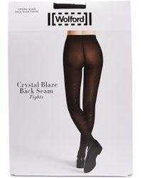 Wolford Crystal Affair Back Seam Tights - Black
