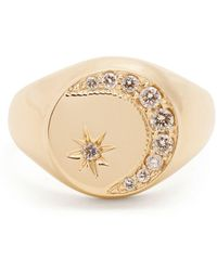 Jacquie Aiche - Diamond & Yellow-gold Signet Ring - Lyst