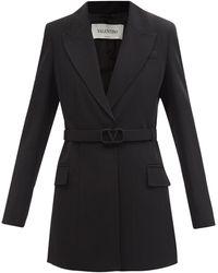 Valentino ベルテッド ウールギャバジン シングルジャケット - ブラック