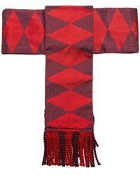 Etro Fringed Geometric-jacquard Silk Belt - Red