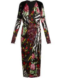 Attico - Floral-print Satin Midi Dress - Lyst
