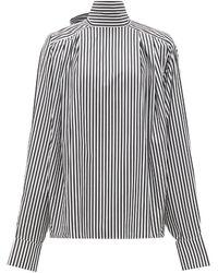 Matthew Adams Dolan High-neck Striped Cotton Blouse - Black
