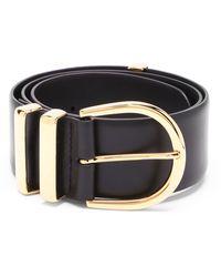 Khaite Bella 18kt Gold-plated Buckle Leather Belt - Black