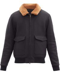 Altea Dexter Shearling-trim Wool-blend Bomber Jacket - Blue