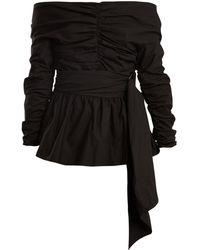 Isa Arfen Off The Shoulder Ruched Cotton Top - Black