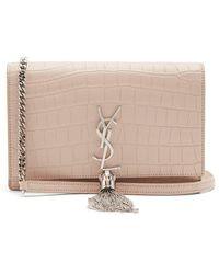 Saint Laurent - Kate Small Crocodile-effect Leather Cross-body Bag - Lyst
