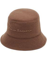 Ruslan Baginskiy Beaded-logo Felted-wool Bucket Hat - Brown