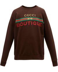 Gucci Boutique Graphic-print Cotton-jersey Sweatshirt - Brown