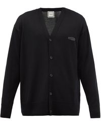 WOOYOUNGMI Logo-embroidered Wool Cardigan - Black