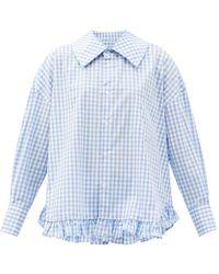Comme des Garçons Comme Des Garçons Girl ラッフルヘム ギンガムチェック コットンシャツ - ブルー