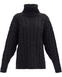 Dolce & Gabbana ケーブルニット ウールカシミアセーター - ブラック