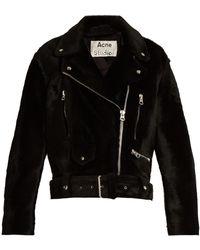Acne Studios Merlyn Oversized Shearling Biker Jacket - Black