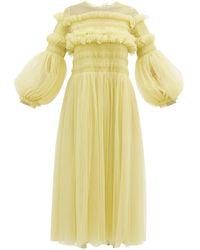 Molly Goddard Emerald Frilled Tulle Smock Dress - Green