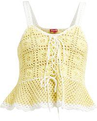 STAUD Shrimp Lace-up Cotton-crochet Peplum Top - Yellow
