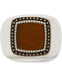 Emanuele Bicocchi Tiger's Eye And Sterling Silver Signet Ring - Metallic