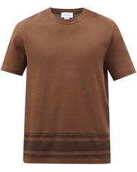 Brioni ボーダーヘム コットンtシャツ - ブラウン