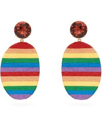 MaryJane Claverol Happy Zone Stripe Clip Earrings - Multicolour