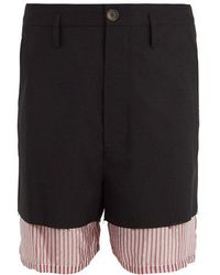 Marni - Double-layered Wool And Satin Shorts - Lyst