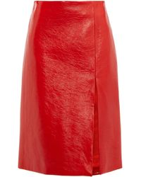 Balenciaga フロントスリット クラックパテントレザースカート - レッド