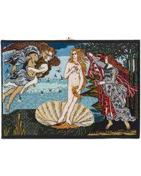 Olympia Le-Tan Boticelli Venus Embroidered Box Clutch - Black