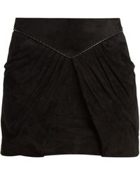 Saint Laurent | Pleat-detail Suede Mini Skirt | Lyst
