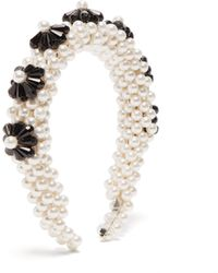 Shrimps Blaze Faux-pearl Embellished Headband - White