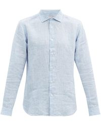 Orlebar Brown ジャイルズ リネンシャツ - ブルー