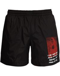 Off-White c/o Virgil Abloh Mona Lisa Print Swim Shorts - Black
