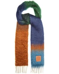 Loewe Striped Brushed Mohair-blend Scarf - Blue