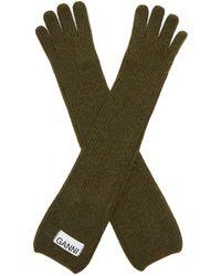 Ganni Rib-knit Wool-blend Gloves - Green