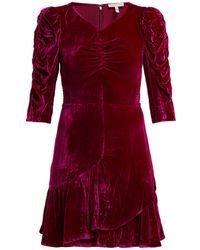 Rebecca Taylor - Ruffled Velvet Mini Dress - Lyst