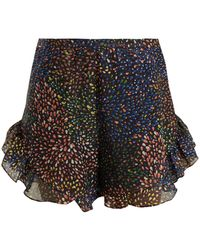Chloé - Abstract-print Ruffle-trimmed Shorts - Lyst