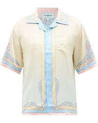 CASABLANCA パレスプリント シルクサテンシャツ - イエロー