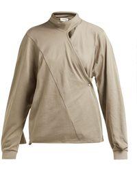 Lemaire Scarf Neck Cotton Jersey Wrap Blouse - Brown