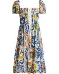 Dolce & Gabbana - Majolica Print Cotton Broderie Anglaise Midi Dress - Lyst