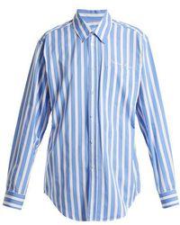 Martine Rose - - Striped Cotton Shirt - Womens - Blue Stripe - Lyst