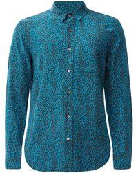 Equipment レオパードシルクシャツ - ブルー