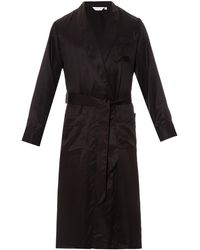 Derek Rose Woburn Striped Silk-satin Bathrobe - Black