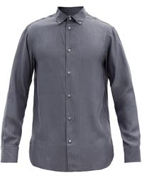 The Row ロバート ストライプ シルクポプリンシャツ - ブルー