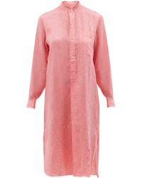 Charvet Stand-collar Linen Shirt Dress - Pink