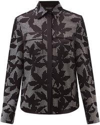 David Koma フローラル クリスタル クロップドサテンシャツ - ブラック