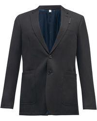 Burberry ウールブレンドクレープ シングルジャケット - ブラック