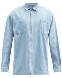 YMC パッチポケット オーバーサイズ デニムシャツ - ブルー