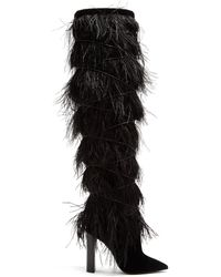 Saint Laurent Yeti Feather Embellished Over The Knee Boots - Black