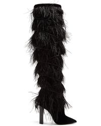 Saint Laurent Yeti Feather-embellished Over-the-knee Boots - Black