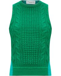 Marine Serre Cable-knit Wool-panelled Top - Green
