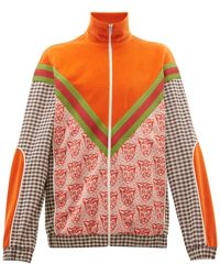 Gucci Houndstooth Cat-print Cotton-blend Track Jacket - Multicolor