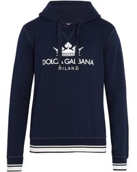 Dolce & Gabbana - Logo-print Cotton-blend Hooded Sweatshirt - Lyst