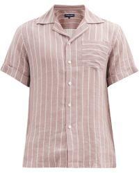 Frescobol Carioca Thomas Short-sleeved Leblon-stripe Linen Shirt - Pink