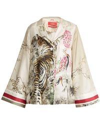 F.R.S For Restless Sleepers - Emera Tiger-print Silk-twill Pyjama Shirt - Lyst